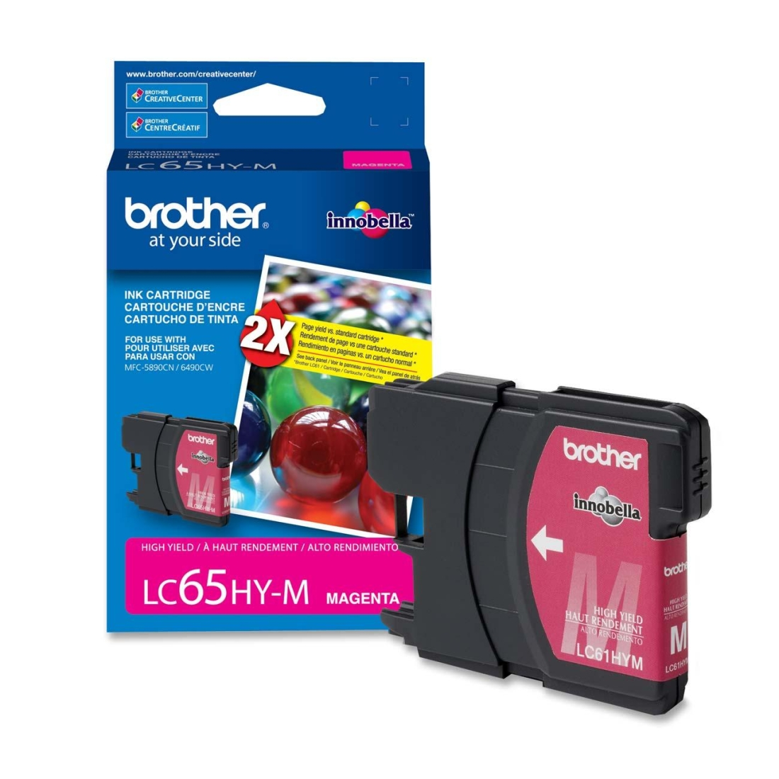 Brother LC65HYM High Yield Magenta OEM Ink Cartridge - MFC 5890, MFC 6490, MFC 6890 - (750pages)