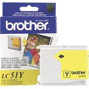 Brother LC51Y Yellow OEM Inkjet Cartridge - IntelliFax 1360, MFC-240C, DCP-130C - (400 pages)