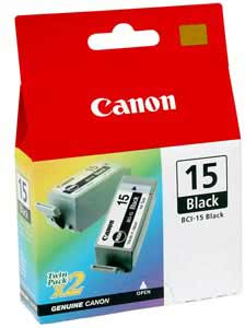 BCI-15 Ink/Tank for Canon i70, i80, i90, Black, 2/Pack