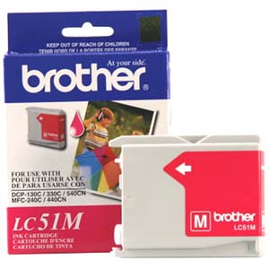 Brother LC51M Magenta OEM Inkjet Cartridge - IntelliFax 1360, MFC-240C, DCP-130C - (400 pages)
