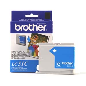 Brother LC51C Cyan OEM Inkjet Cartridge - IntelliFax 1360, MFC-240C, DCP-130C - (400 pages)