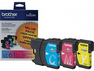 Brother LC61CL Tri Pack OEM Ink Cartridges - MFC 5890cn series - (325 pages per cartridge)